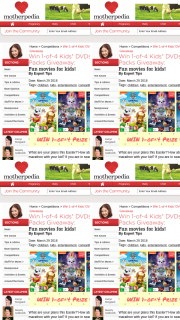Motherpedia – Four (4) DVD Prize Packs to Motherpedia Readers