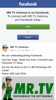 MR TV Antenna – Win 5 X $50 Bunnings Gift Cards (prize valued at $250)