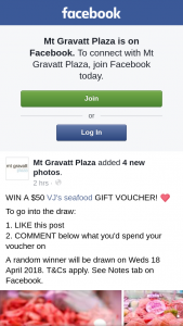 Mt Gravatt Plaza – Win a $50 Vj's Seafood Gift Voucher (prize valued at $50)