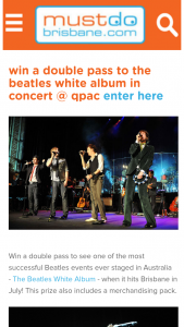 Must Do Brisbane – Win a Double Pass to The Beatles White Album In Concert @ Qpac Enter Here