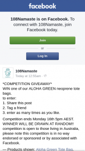 108Namaste – Win One of Our Aloha Green Neoprene Tote Bags