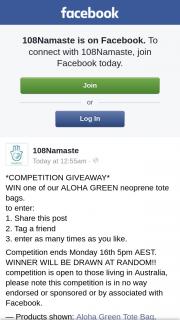 108Namaste – Win One of Our Aloha Green Neoprene Tote Bags