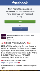 New Farm Cinemas – Win 1 of 2 Walking Out Prizapacks