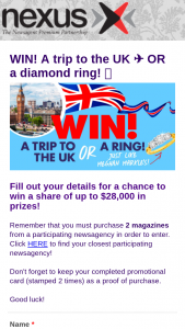 Nexus Newsagencies-Pacific Magazines – Win a Diamond Ring (prize valued at $15,436)