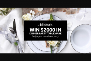 Noritake – Win $2000 In Luxury Tableware By Noritake (prize valued at $2,000)
