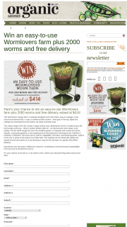 Organic Gardener – Win an Easy-To-Use Wormlovers Farm Plus 2000 Worms and Free Delivery Valued at $414 (prize valued at $414)