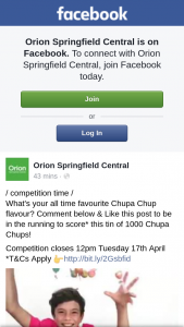 Orion Springfield Central – Win a Tin of One Thousand Chupa Chups