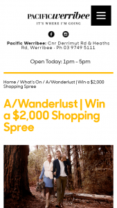 Pacific Werribee – Win a $2000 Shopping Spree (prize valued at $2,000)