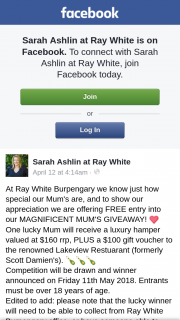 Sarah Ashlin at Ray White – Announced on Friday 11th May 2018. (prize valued at $160)