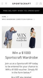 Sportscraft – Win a $1000 Voucher (prize valued at $1,000)