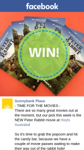 Sunnybank Plaza – Win One of Two Peter Rabbit Double Passes