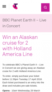 Telstra Thnks – Win an Alaskan Cruise for 2 (prize valued at $9,500)