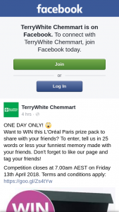 TerryWhite Chemmart – Win this L'oréal Paris Prize Pack to Share With Your Friends