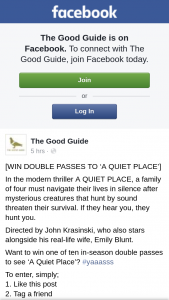 The Good Guide – Win One of Ten In-Season Double Passes to See 'a Quiet Place'?