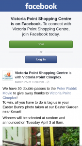 Victoria Point Shopping Centre – Win a Peter Rabbit Double Pass Must Collect