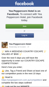 Yea Peppercorn Hotel – Win a Weekend Country Escape (prize valued at $500)