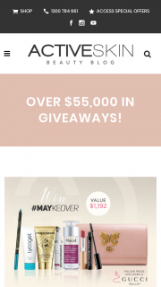 Activeskin – Win The Major Prize Valued at $1192 Which Includes a Maykeover Prize Pack and a Stunning Gucci Wallet Valued at $905 Or Be In The Running for One of 9 X Maykeover Prize Packs Valued at $287…. (prize valued at $1,192)