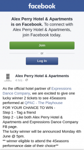 Alex Perry Hotel & Apartments – 2 Tickets to See 4seasons Performed at Qpac