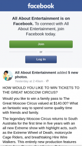 All About Entertainment – Win a Family Pass to The Great Moscow Circus Valued at $140.00? (prize valued at $140)