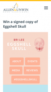 Allen and Unwin – Win a Signed Copy of Eggshell Skull