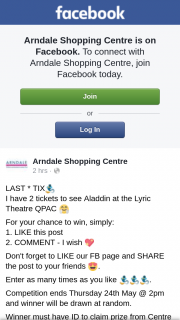 Arndale Shopping Centre – Win a Double Pass to Aladdin Must Collect