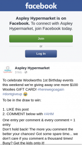 Aspley hypermarket – One More $100 Woolies Gift Card (prize valued at $100)