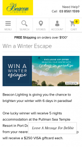 Beacon Lighting – Win a Winter Escape