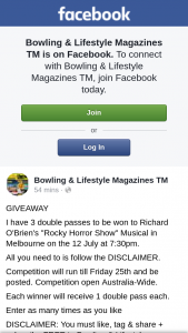 """Bowling & Lifestyle mag – to Richard O'brien's """"rocky Horror Show"""" Musical In Melbourne on The 12 July at 730pm"""