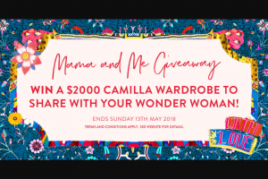 Camilla – Win a $2000 Camilla Voucher (in-store/online). (prize valued at $2,000)