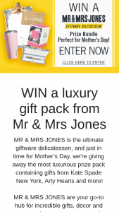Channel 7 – Sunrise – Win a Luxury Gift Pack From Mr & Mrs Jones (prize valued at $304)