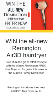 Channel 7 – Sunrise – Win The All New Remington Air3d Hairdryer