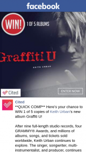Cited – Win 1 of 5 Copies of Keith Urban's New Album Graffiti U