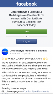ComfortStyle Furniture & Bedding – on The 27th of May Right Here on this Page (prize valued at $1,099)