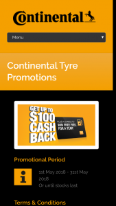 Continental Tyre – Win Free Fuel for a Year (prize valued at $12,500)