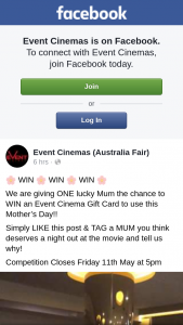 Event Cinemas Australia Fair – Win an Event Cinema Gift Card to Use this Mother's Day