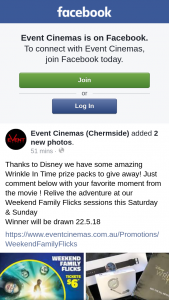 Event Cinemas Chermside – Win a Wrinkle In Time Pack Must Collect