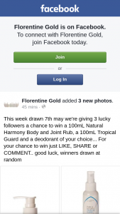 Florentine Gold – Win a 100ml Natural Harmony Body and Joint Rub