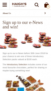 Haigh's Chocolates – Win One of Three Introductory Selection Packs Valued at $100 Each (prize valued at $100)