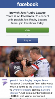 Ipswich Jets Rugby League Team – Win 2 Tickets to The Brisbane Broncos Vs Sydney Roosters Game at Suncorp Stadium