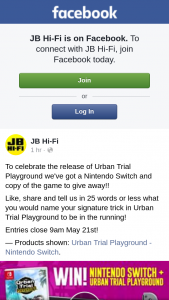JB HiFi – Win a Nintendo Switch & Copy of Urban Trial Playground