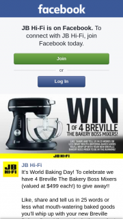 JB Hi-Fi – Win One of Four Breville Bakery Boss Mixers (prize valued at $499)