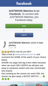 JUSTWOOD Watches – Win a Wooden Watch Like/share Facebook (prize valued at $130)