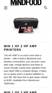 MindFood – Win 1 of 2 Hp Amp Printers (prize valued at $199)