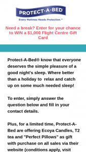"""Mum Central – Protect a Bed – Win 1 X $1000 Flight Centre Gift Card Tell Us In 25 Words Or Less """"what Impresses You Most About The Protect-A-Bed® Range of Mattress Protectors"""" (prize valued at $1,000)"""