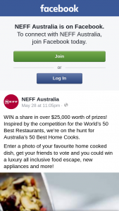 Neff Kitchen Vote for your favourite NEFF home cook 2018 to – From Our Pool of Eligible Voters to Receive a $200 Visa Voucher (prize valued at $2,000)