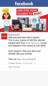 Retravision – Win The Ultimate Pamper Pack From Vidal Sassoon (prize valued at $45.95)
