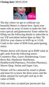 Riverlink Shopping Centre – Win Your Glam Mum a $500 Gift Card