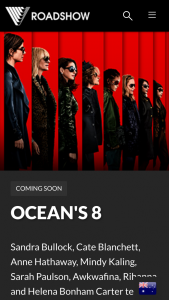 Roadshow – Win 8 Tickets to Ocean's 8 – with 20 Chances to Win (prize valued at $3,440)
