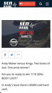 SEN 1116 – Win 1116 Sens Boot Loot (prize valued at $9,000)