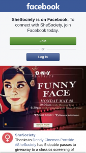 SheSociety – to a Classics Screening of Funny Face Staring Audrey Hepburn and Fred Astaire on Monday The 28th of May